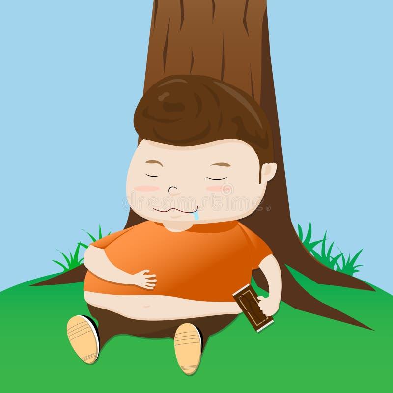 肥胖男孩采取休息动画片 向量例证