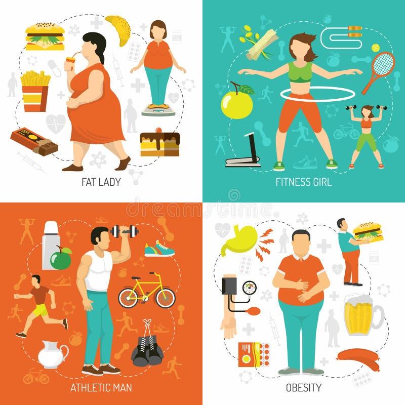 肥胖病和健康概念 库存例证