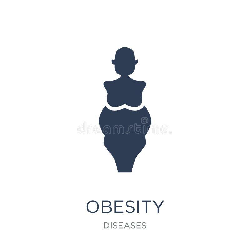肥胖病象 在白色backgroun的时髦平的传染媒介肥胖病象 向量例证
