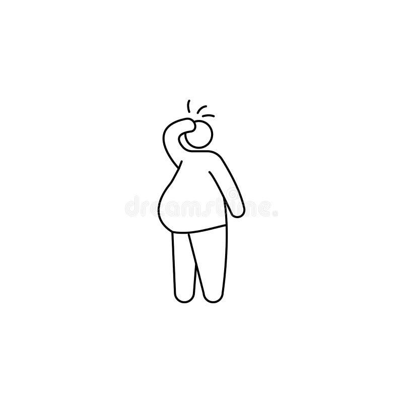肥胖病问题象 快餐的元素流动概念和网apps的 网站设计和发展的, a稀薄的线象 向量例证