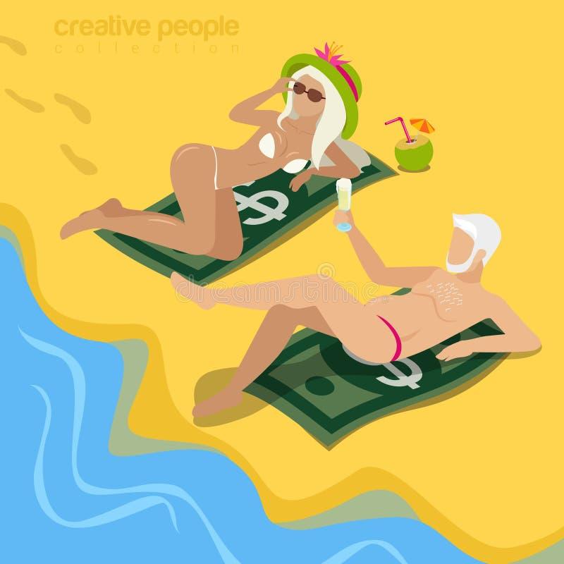 肥胖等量猫姘妇海滩金钱平的3d的传染媒介 皇族释放例证