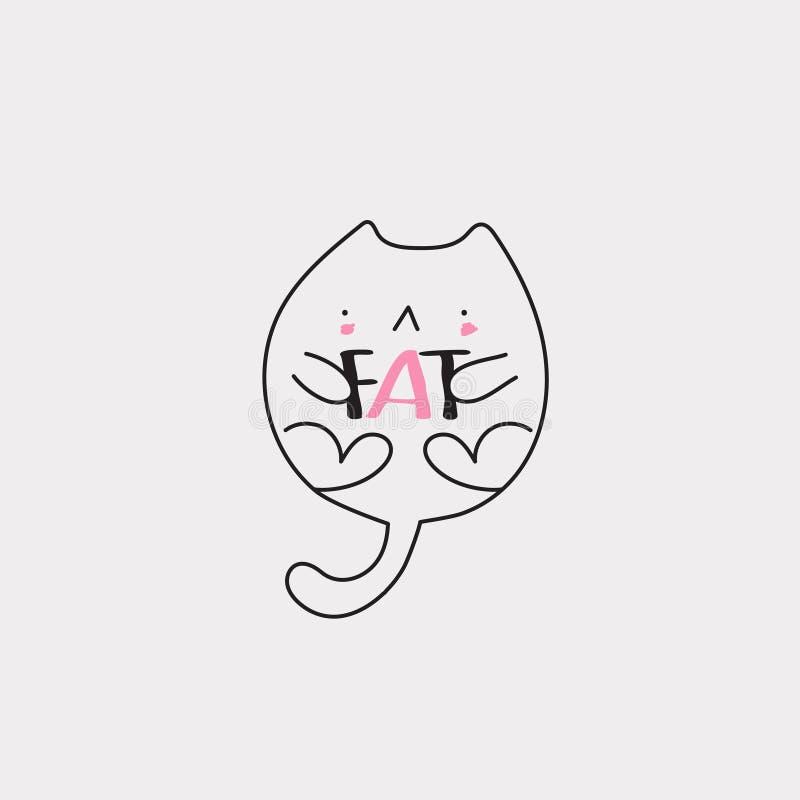 肥胖线猫 向量例证