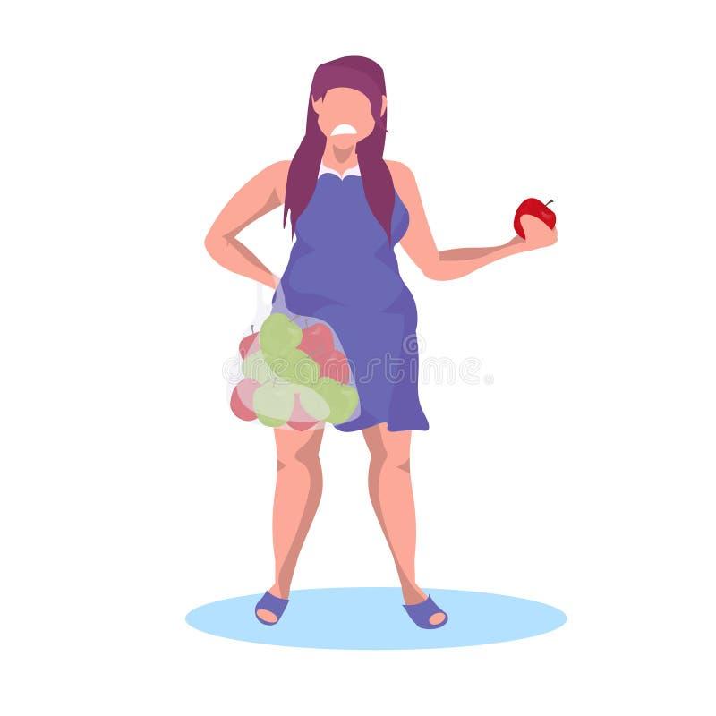 肥胖肥胖吃果子的女孩藏品苹果果子哀伤的不快乐的妇女节食减肥概念母卡通人物 皇族释放例证