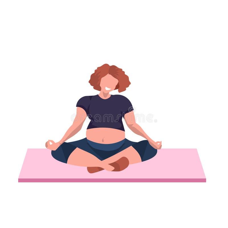 肥胖肥胖妇女坐的莲花摆在充分做瑜伽锻炼凝思概念母卡通人物的超重女孩 向量例证