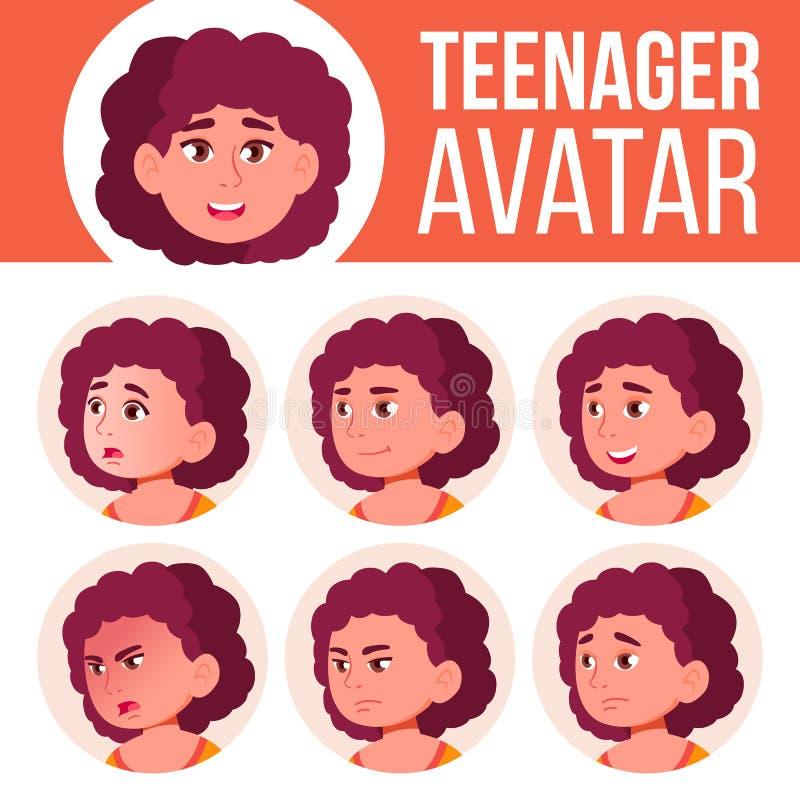 肥胖青少年的女孩具体化集合传染媒介 面对情感 孩子 友好 动画片顶头例证 皇族释放例证