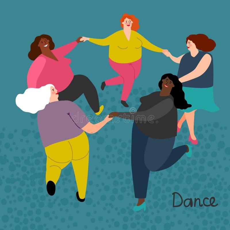 肥腻国际妇女得到舞蹈传染媒介例证 向量例证