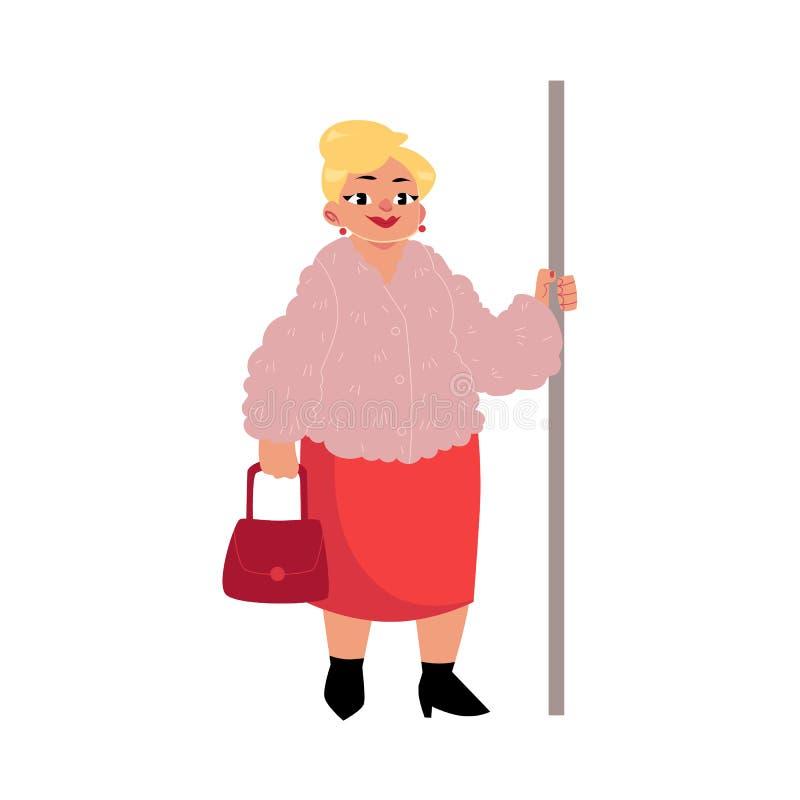 肥满中年妇女,站立在地铁的主妇,拿着扶手栏杆 皇族释放例证