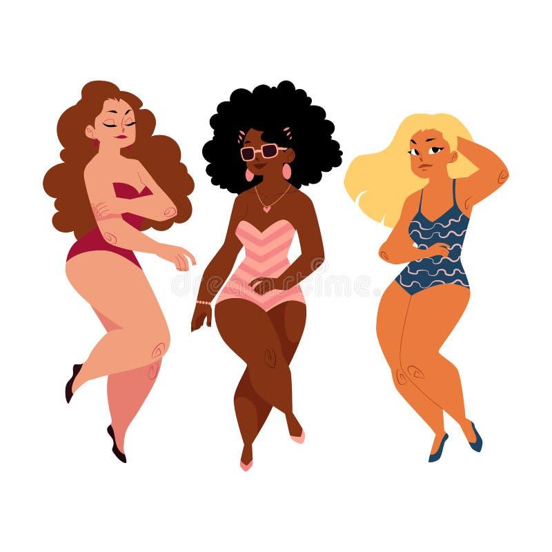 肥满,弯曲的妇女,女孩,加上大小在游泳衣塑造 皇族释放例证