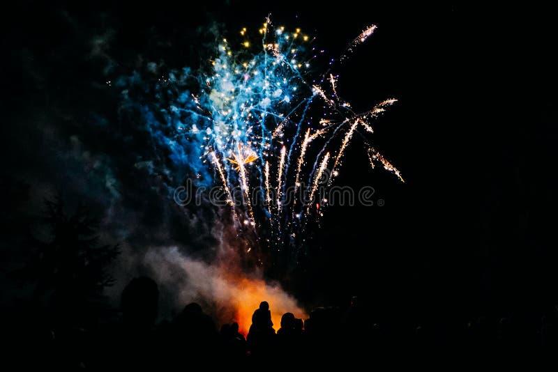 肩膀的剪影孩子观看五颜六色的烟花的在篝火夜 免版税库存照片