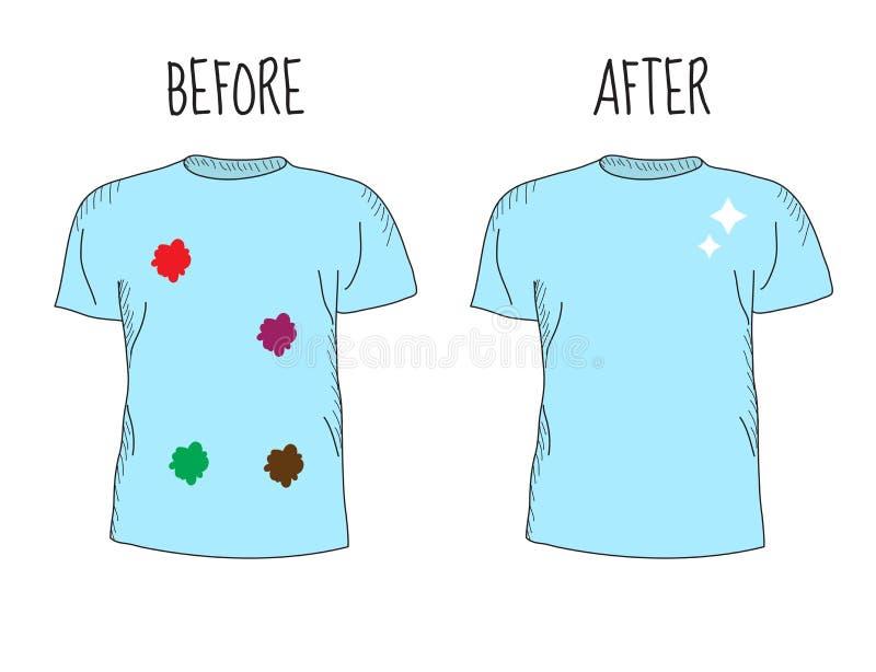 肮脏和干净的T恤杉 Befor清洁和在清洗T恤杉以后 向量例证