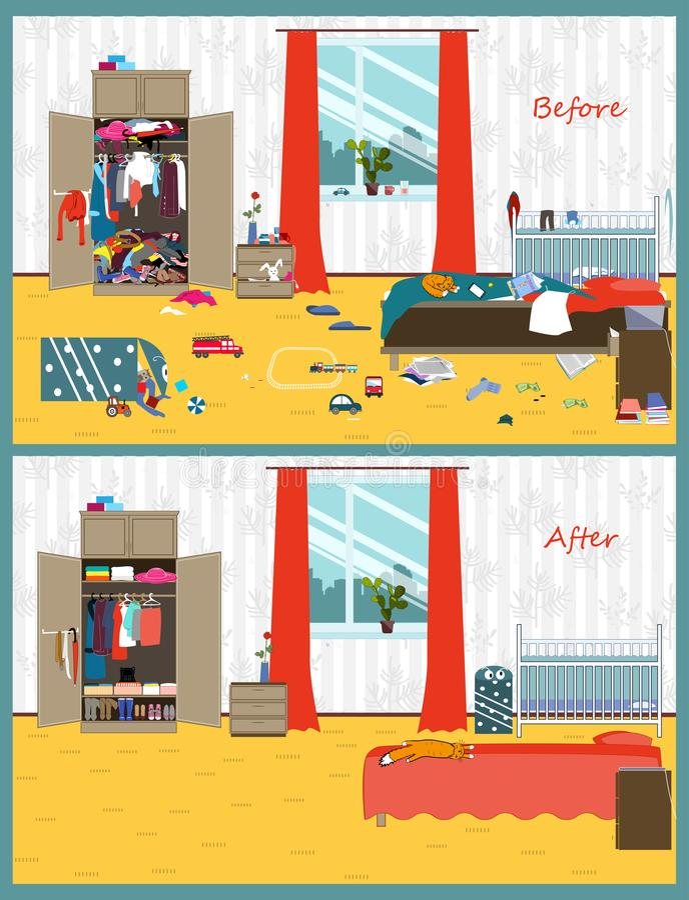 肮脏和洁净室 在内部的混乱 在清洁前后的室 平的样式传染媒介例证 皇族释放例证
