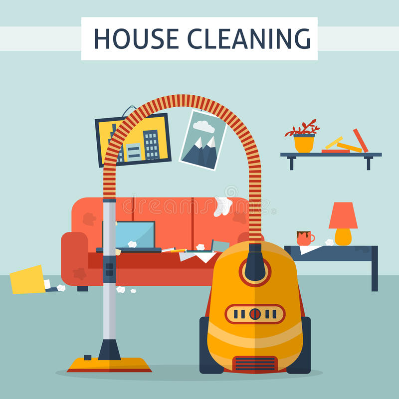 肮脏和洁净室 库存例证