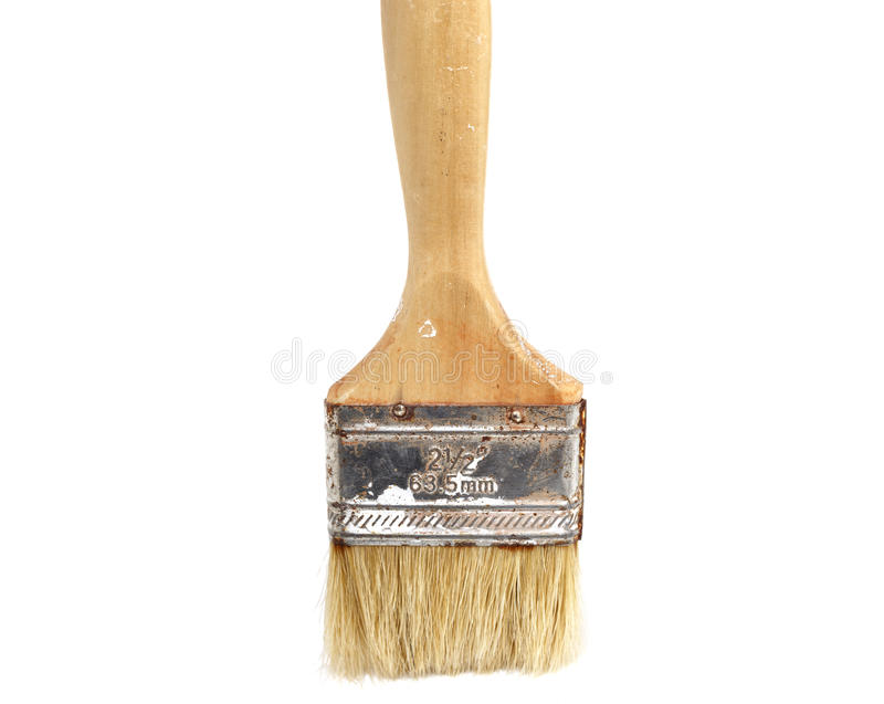 肮脏的使用的油漆brushe 库存图片