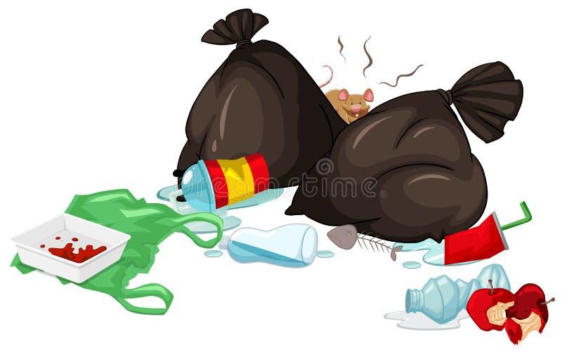 肮脏的垃圾袋和腐烂的食物在地板上 向量例证