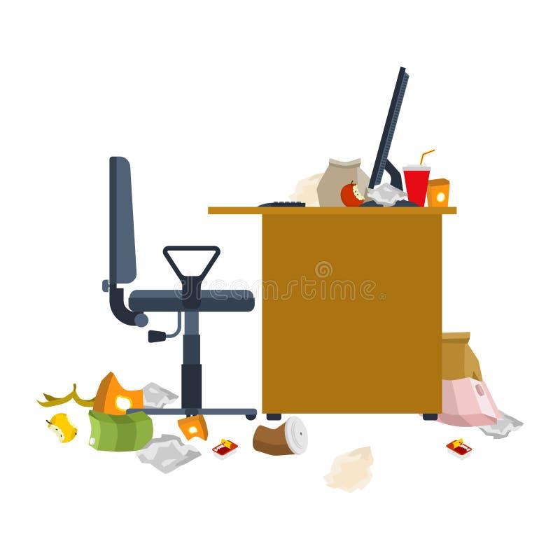 肮脏的工作场所 垃圾和棍子 污浊的计算机书桌 皇族释放例证