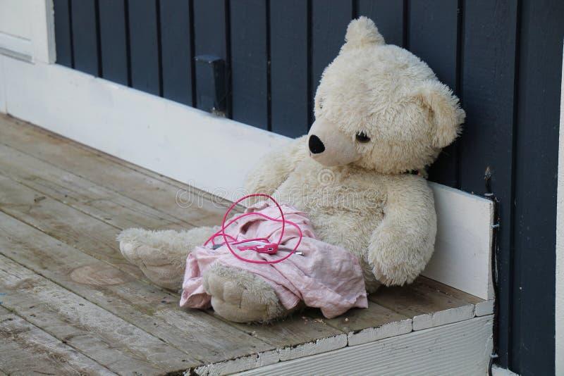 肮脏的心爱的白熊 库存图片