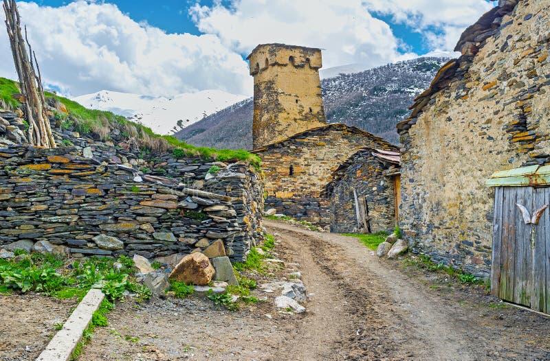 肮脏的村庄路 免版税库存照片