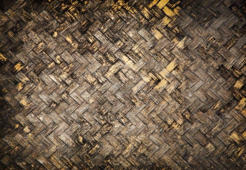 肮脏的竹藤条纹理背景 库存图片