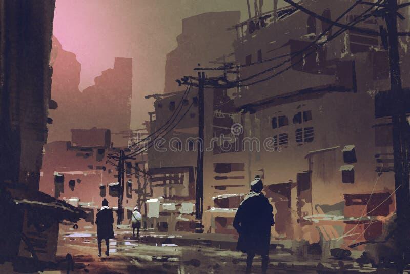 肮脏的街道在日落的被放弃的城市 库存例证