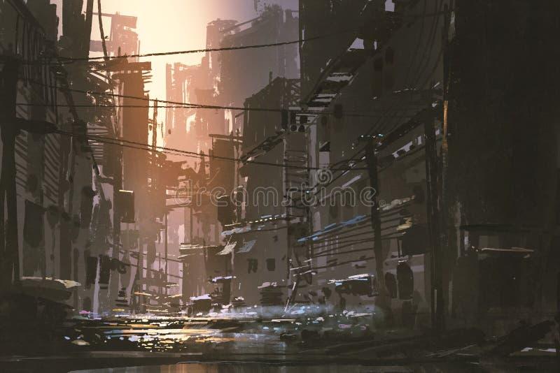 肮脏的街道在被放弃的城市 皇族释放例证