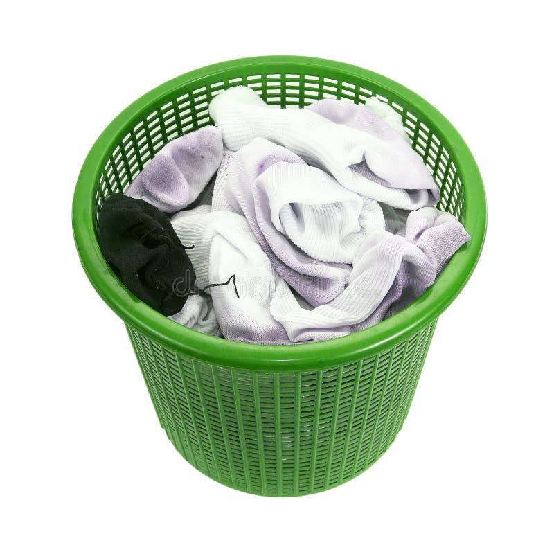 肮脏的洗衣店肮脏的袜子篮子  免版税库存图片