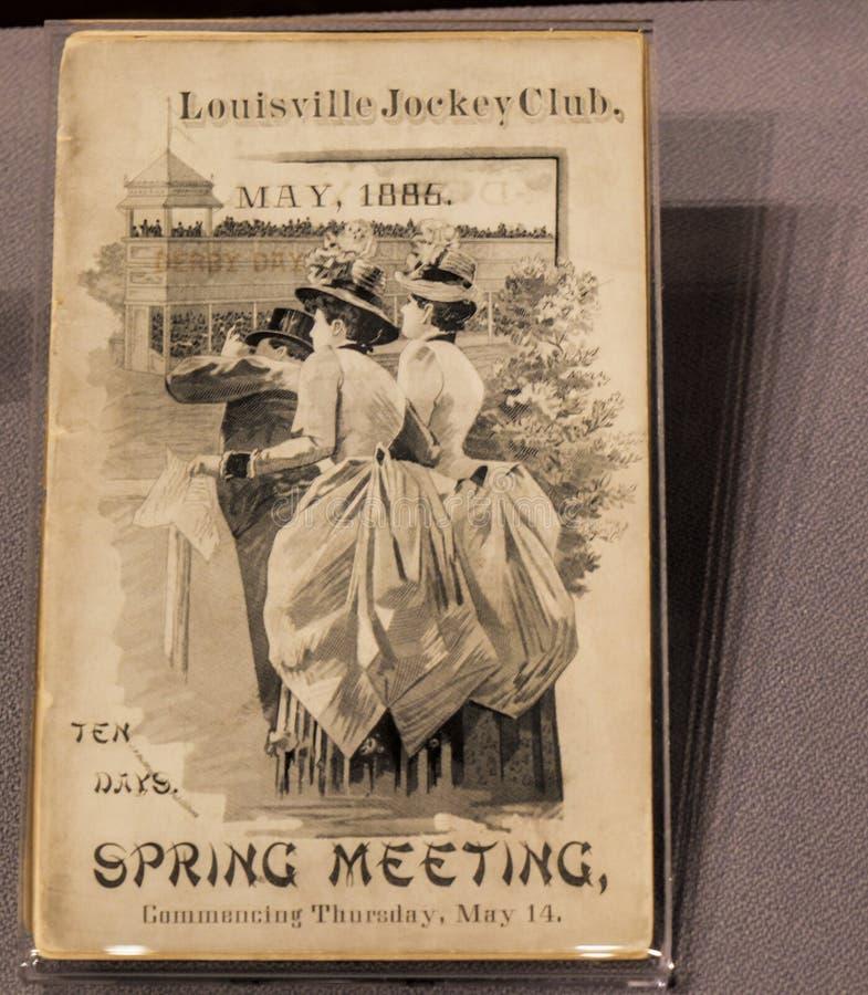 肯塔基德比的丘吉尔Downs家的小册子在路易斯维尔美国 免版税库存照片