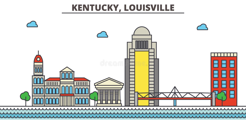 肯塔基,路易斯维尔 背景城市设计您地平线的向量 皇族释放例证
