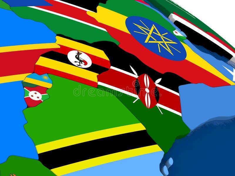 肯尼亚、乌干达、卢旺达和布隆迪3D的映射与旗子 向量例证