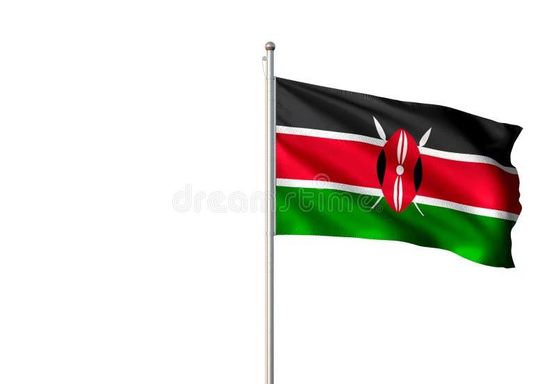 肯尼亚全国沙文主义情绪的被隔绝的白色背景现实3d例证 库存例证