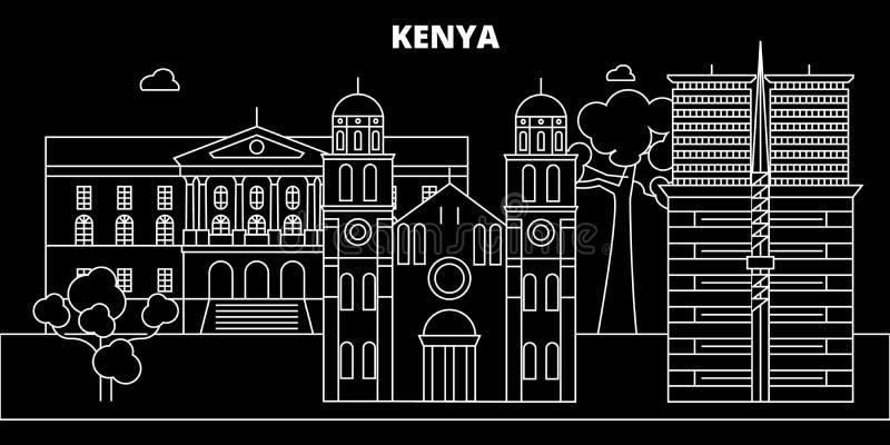 肯尼亚剪影地平线,传染媒介城市,肯尼亚线性建筑学,大厦 肯尼亚旅行例证,概述 库存例证