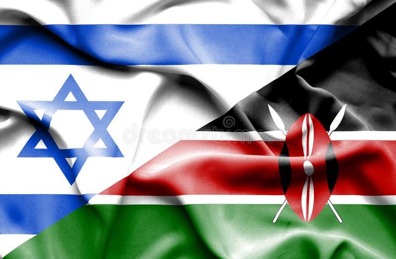 肯尼亚和以色列的挥动的旗子 库存例证