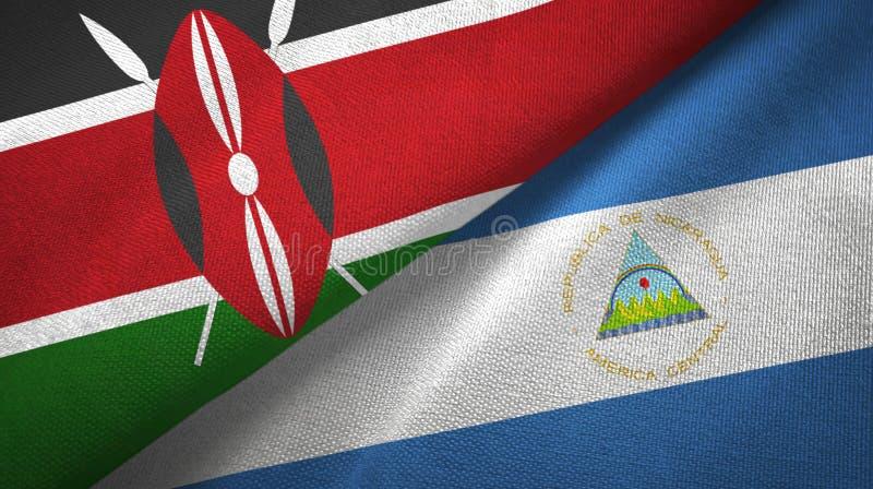肯尼亚和尼加拉瓜两旗子纺织品布料,织品纹理 库存例证