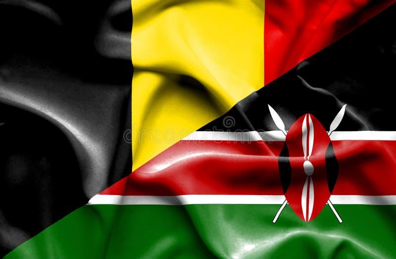 肯尼亚和比利时的挥动的旗子 向量例证