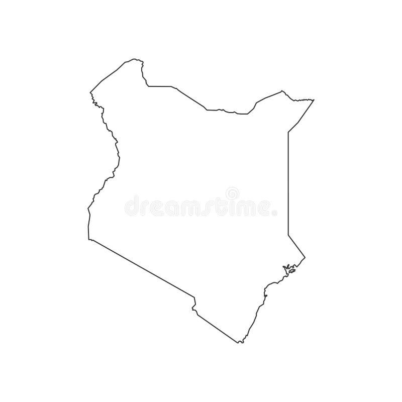肯尼亚地图剪影 向量例证