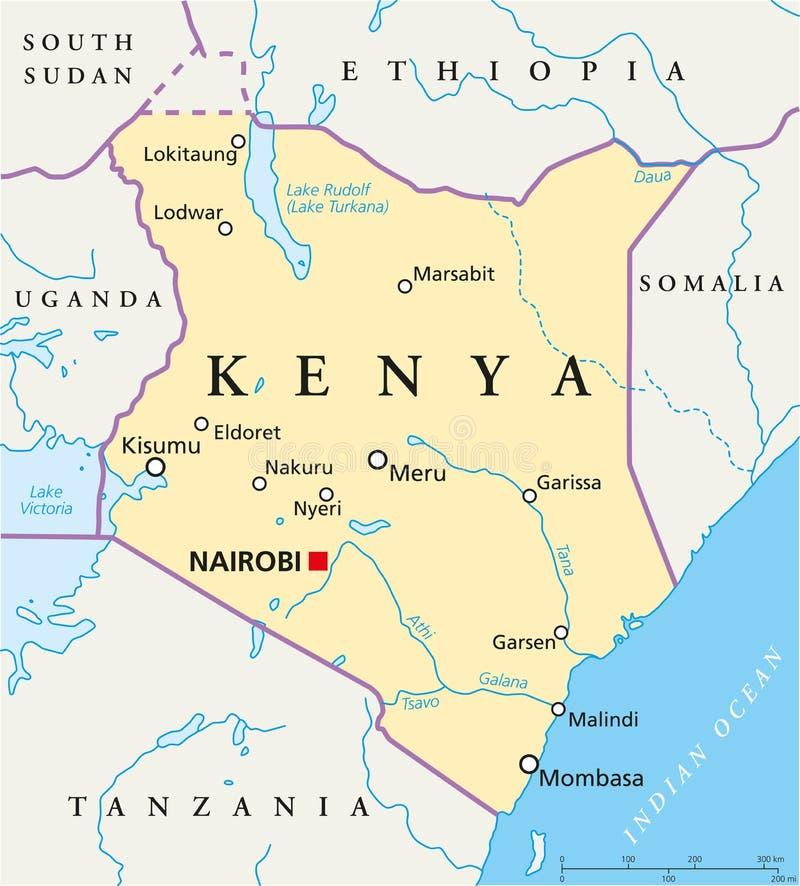 肯尼亚政治地图 向量例证