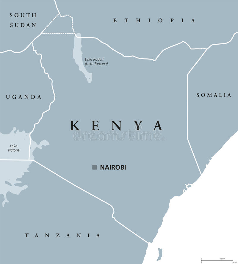 肯尼亚政治地图 库存例证