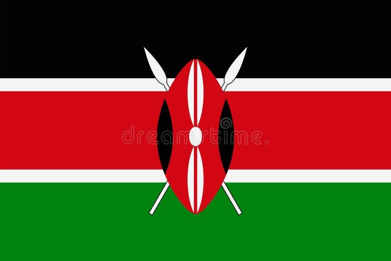 肯尼亚旗子传染媒介平的象 向量例证