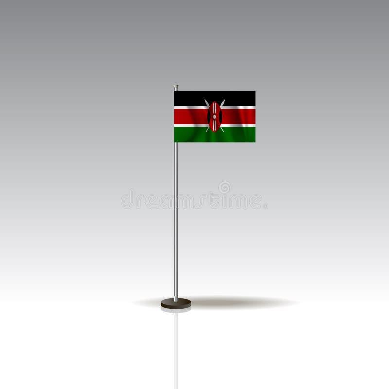 肯尼亚的国家的旗子例证 在灰色背景的全国肯尼亚旗子 EPS10 库存例证