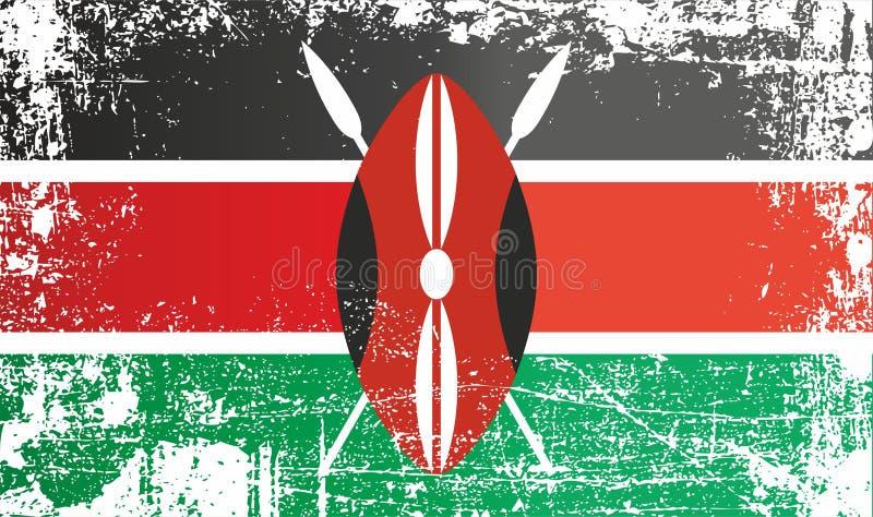 肯尼亚的旗子 起皱纹的肮脏的斑点 皇族释放例证