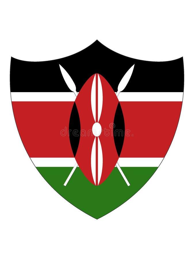 肯尼亚的盾形的旗子 向量例证