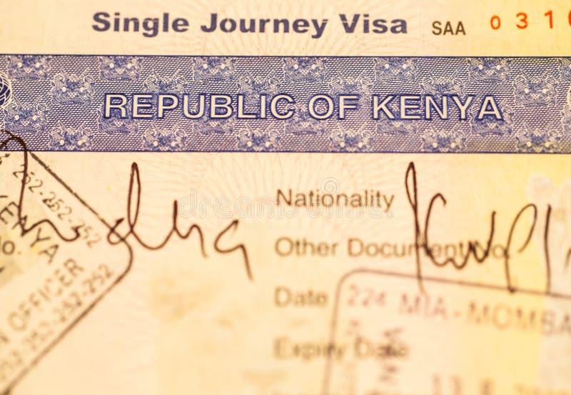 肯尼亚签证 免版税图库摄影