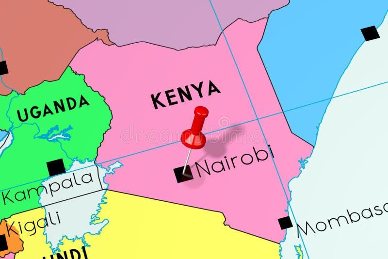 肯尼亚,内罗毕-首都,别住在政治地图 向量例证