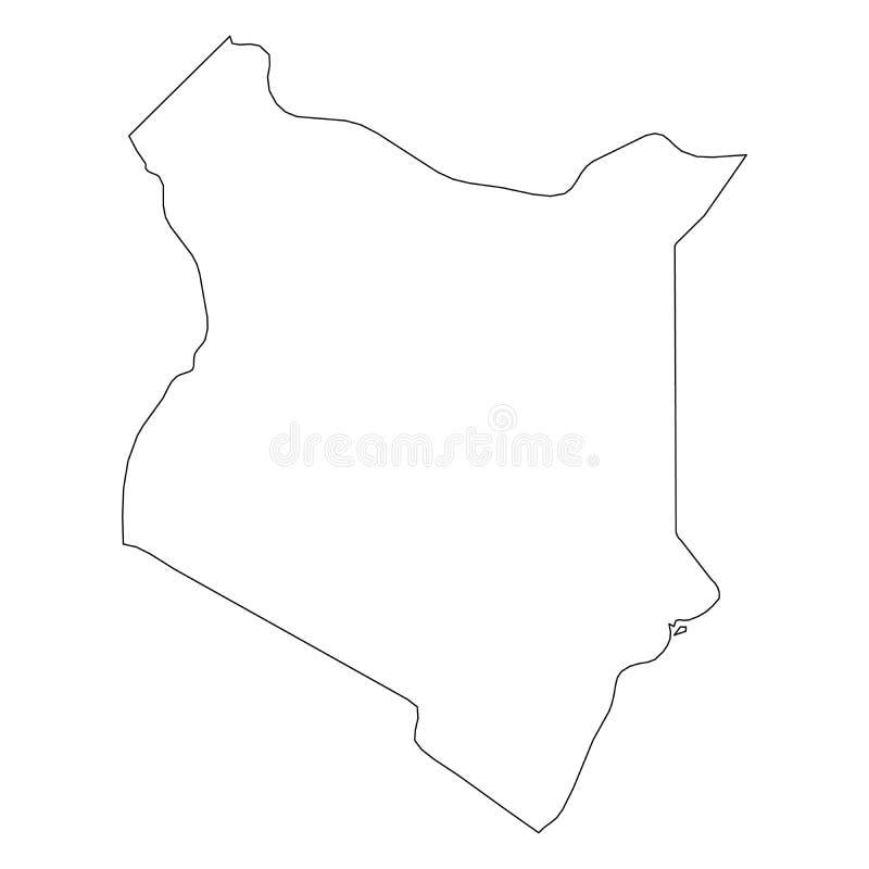 肯尼亚-国家区域坚实黑概述边界地图  简单的平的传染媒介例证 库存例证