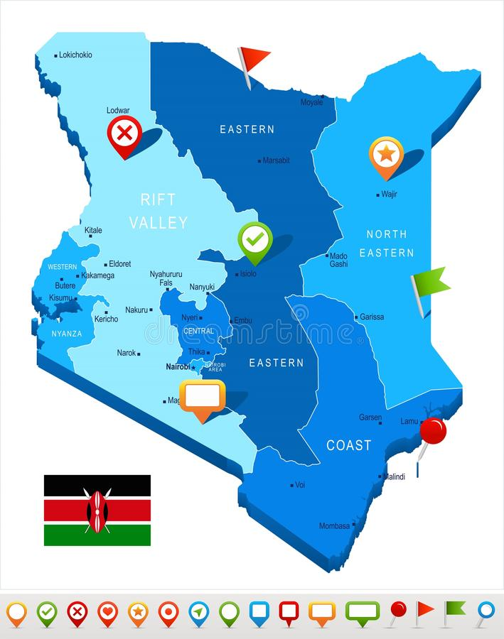 肯尼亚-地图和旗子-详细的传染媒介例证. 政府, 标签.图片
