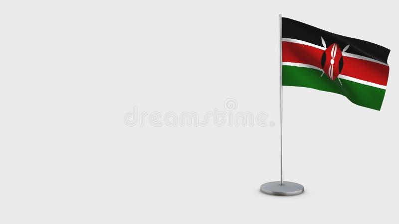 肯尼亚3D挥动的旗子例证 向量例证