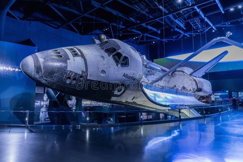 肯尼迪航天中心,佛罗里达,美国- SEBRUARY 19日2017年:在肯尼迪航天中心访客复合体的亚特兰提斯号太空梭  库存照片