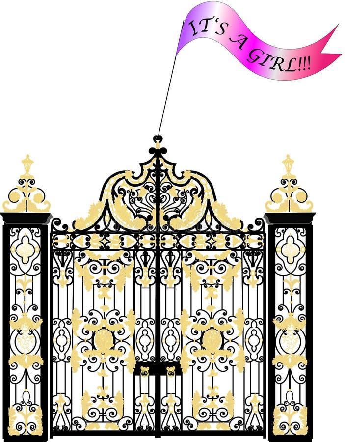 肯辛顿宫殿门,新出生的皇家女婴公告 向量例证