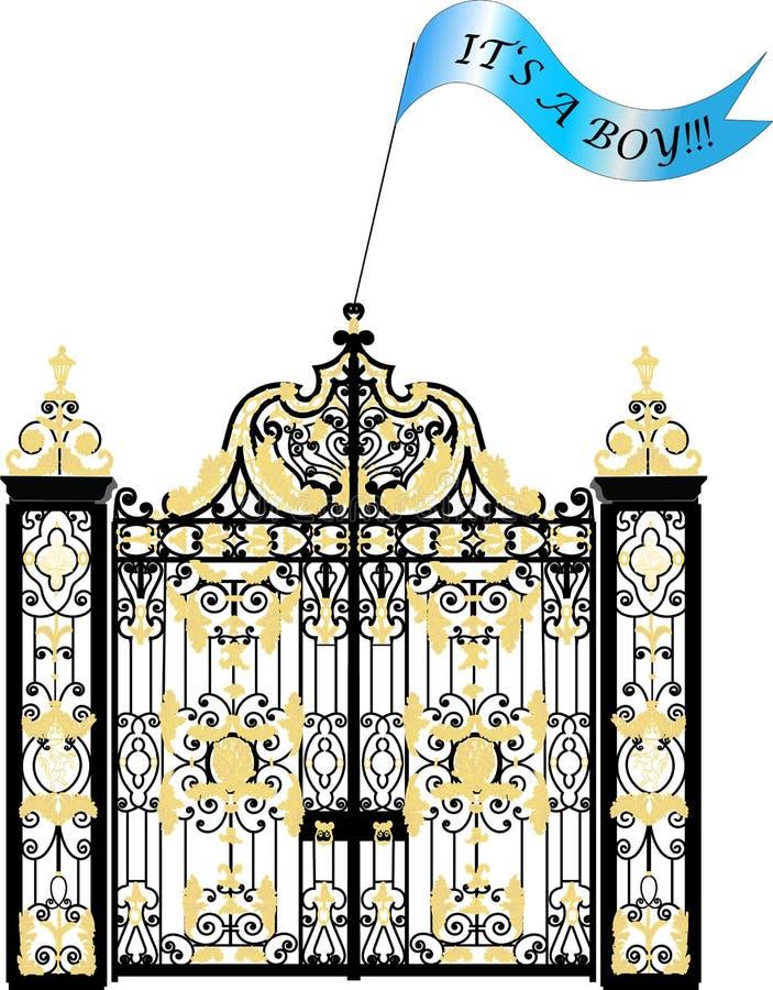肯辛顿宫殿门,新出生的皇家男婴公告 库存例证