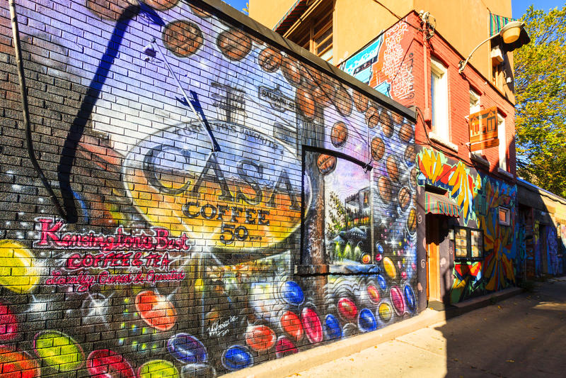 肯辛顿市场街道画多伦多加拿大 库存图片
