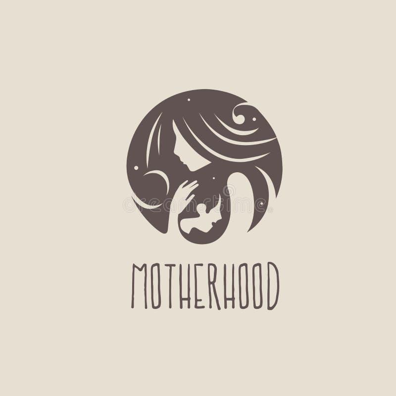 育儿、母性和生育子女商标  皇族释放例证